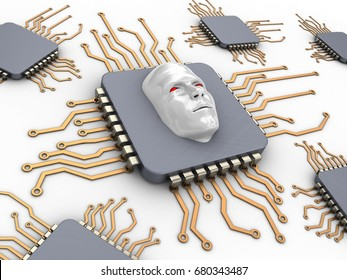 3d illustration of computer chips over white background with evil face