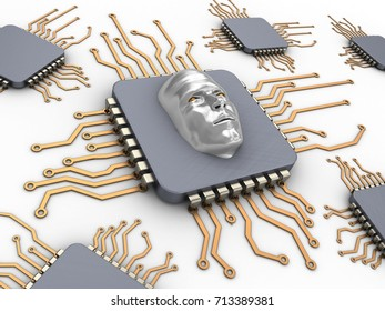 3d illustration of computer chips over white background with face