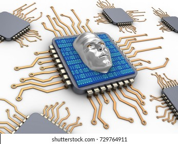 3d illustration of computer chips over white background with face and binary code inside
