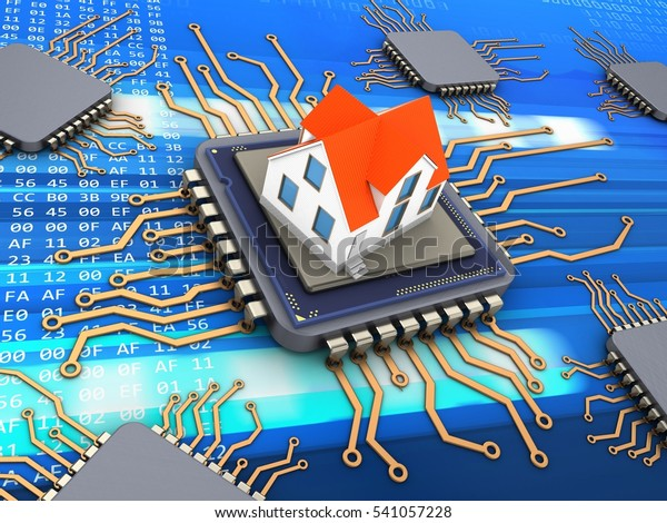 3d illustration of computer chips over code background with house