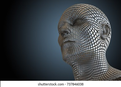 3D illustration. A computer generated squared robotic head, on a dark background. Artificial mind concept.