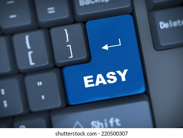 3d illustration of computer keyboard enter button with word easy