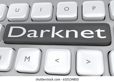 """3D illustration of computer keyboard with the print """"Darknet"""" on a gray button"""