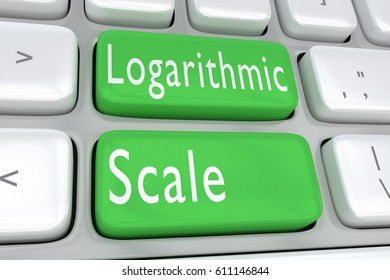 "3D illustration of computer keyboard with the print ""Logarithmic Scale"" on two adjacent green buttons"