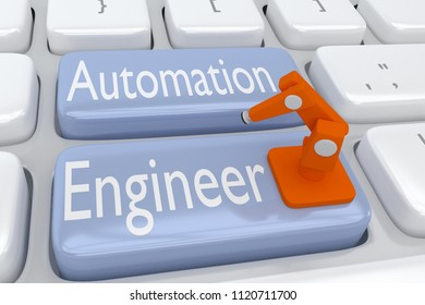 3D illustration of computer keyboard with the script Automation Engineer on two adjacent pale blue buttons, with an industrial robotic arm placed on these buttons.