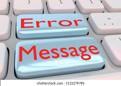 3D illustration of computer keyboard with the script Error Message on two adjacent pale blue buttons