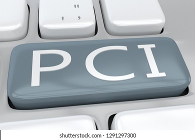 3D illustration of computer keyboard with the script PCI on agray button