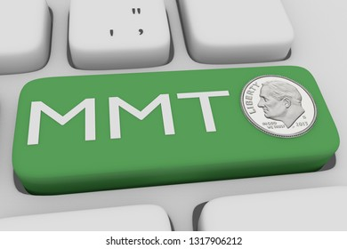 3D illustration of computer keyboard with the script MMT on a green button, with a ONE DIME silver coin