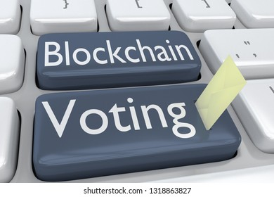 3D illustration of computer keyboard with the script Blockchain Voting on two adjacent gray buttons, and a voting envelope inserted into one of these bottons.