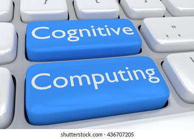 """3D illustration of computer keyboard with the script """"Cognitive Computing"""" on two adjacent pale blue buttons. Computing concept."""