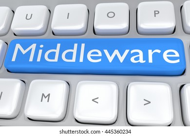 """3D illustration of computer keyboard with the script """"Middleware"""" on pale blue button. Technological concept."""