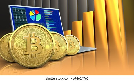 3d illustration of computer over golden charts background with bitcoins row