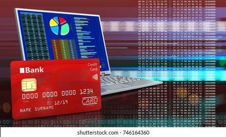 3d illustration of computer over red cyber background with bank card