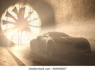 3D illustration, concept car without reference based on real vehicles inside of windtunnel.