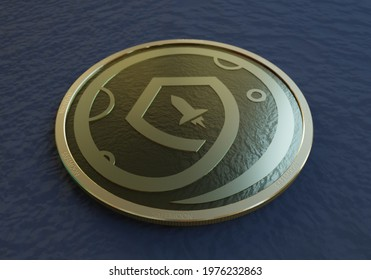 A 3D illustration of a concept coin of the cryptocurrency SafeMoon up close in a dark background.