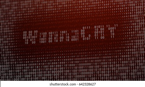 3d illustration with concept of computer virus Wannacry. Closeup of virus sign on LCD Screen