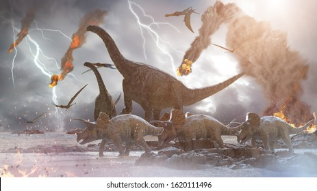 3D Illustration of a concept destruction of dinosaurs by a falling meteorite, 3d render