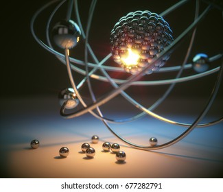 3D illustration. Concept image of a nuclear atomic model with nuclear fusion.