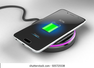 3D illustration concept on wireless charging smartphone with the effect of depth of field