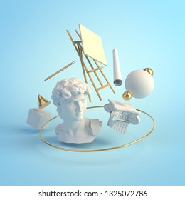 3d illustration concept of the Renaissance art, statue of David, Michelangelo, column, education, creative