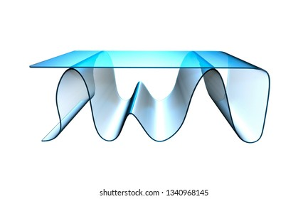 3D illustration of a conceptual coffee table isolated on a white background