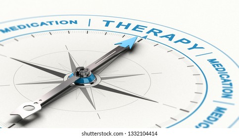 3D illustration of conceptual compass with needle pointing the word therapy instead of medication. Concept of complementary treatment for depression.