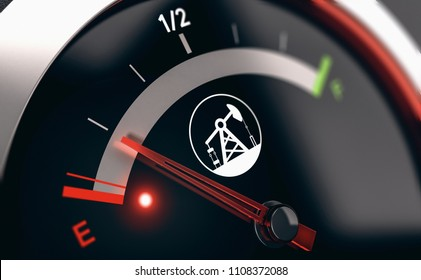 3D illustration of a conceptual fuel gauge with the needle pointing the empty position. Concept of depletion of non renewable energies.