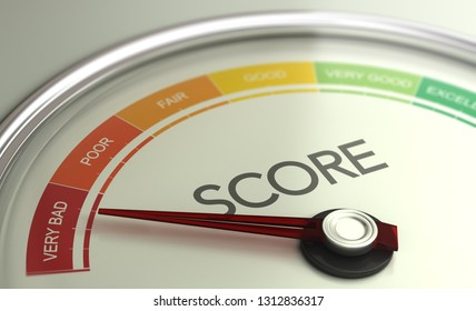 3D illustration of a conceptual gauge with needle pointing to very bad scoring. Business credit score concept.
