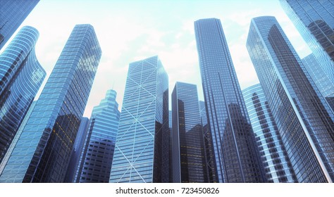 3D illustration. Conceptual image to be used as background. Facade of buildings, representing architecture or offices of the business world.