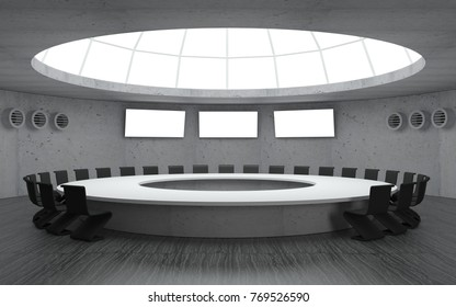 3D illustration. Conference room for meetings with a dome round shape with a large table. Secret underground military bunker
