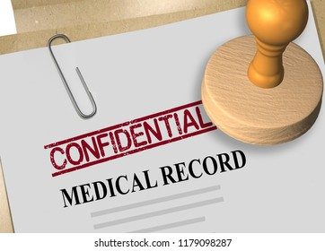 3D illustration of CONFIDENTIAL stamp title on a medical record