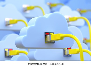 3D illustration - connected to the cloud