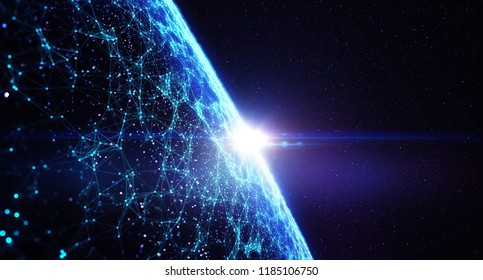 3D illustration. Connection lines Around Earth Globe, Futuristic Technology Theme Background with Light Effect/The concept of social network, uniting people around the globe