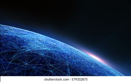 3D illustration. Connection lines Around Earth Globe, Futuristic Technology  Theme Background with Light Effect/Global International Connectivity Background