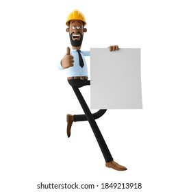 3d illustration, construction engineer with blank banner