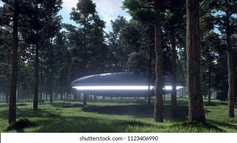 3d illustration contact with UFO in the forest