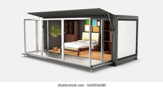 3d Illustration of Container House. Reuse Container for bedroom.