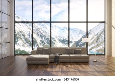 3d illustration of comfortable contemporary interior with amazing scenery view of mountains
