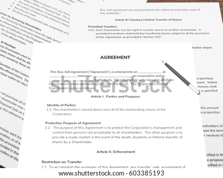 3 D Illustration Contract Papers Pen On Stock Illustration 603385193