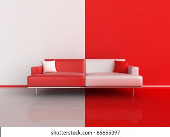 3d illustration of a contrasting sofa in red and white