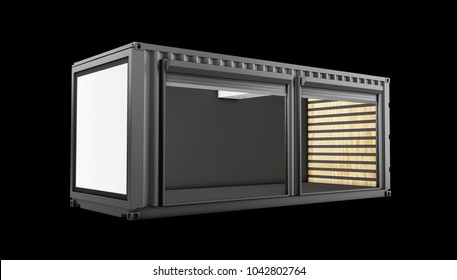 3d Illustration of Converted old shipping container, isolated black.