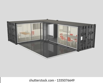 3d Illustration of Converted old shipping container, isolated gray