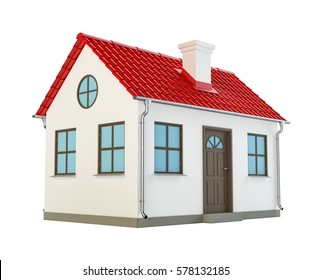 3D illustration of cool detailed house, isolated on white background