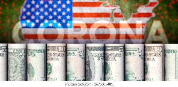 3D illustration: Coronavirus, dollars and USA