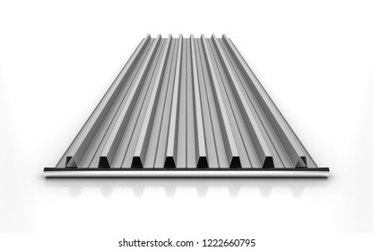 3D Illustration of a Corrugated Aluminium sheet for Industrial Roofing Systems