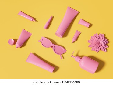 3d illustration of cosmetic template. Pink colored tubes, lipstick, cat eye glasses and flower of succulent lay on vibrant orange backdrop. Contemporary trendy branding identity concept. Summer mockup