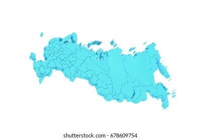 3d illustration Country shape of Russia maps
