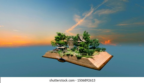 3D illustration Countryside animal farm village with windmill pop up in the book pages floating in the air