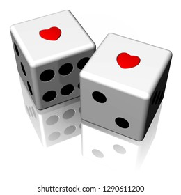 3D illustration. Couple gaming dice with heart. Isolated on white background.