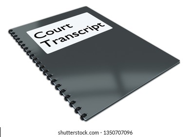 3D illustration of Court Transcript script on a booklet, isolated on white.